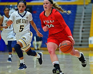 KENT, OHIO - NOVEMBER 20, 2018: Youngstown State's McKenah Peters drives on Kent State's Mariah Modlkins during the first half of their game, Tuesday night at the Memorial Athletic and Convocation Center. Kent State won 62-34. (David Dermer/Special to the Record Courier)