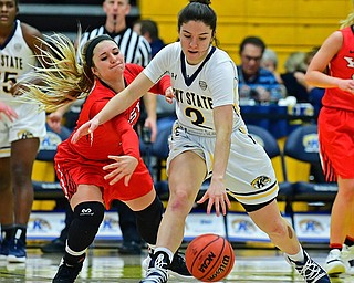 KENT, OHIO - NOVEMBER 20, 2018: Kent State's Annie Pavlansky protects the ball from Youngstown State's Alison Smolinski during the second half of their game, Tuesday night at the Memorial Athletic and Convocation Center. Kent State won 62-34. (David Dermer/Special to the Record Courier)