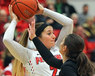 William D. Lewis The vindicator  YSU's Alison smolinski(2) keeps the ball from akron's Megan Sefcik(11).