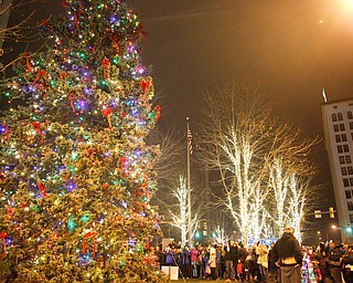 People watch as the tree lights up during the tree-lighting ceremony on Friday night. EMILY MATTHEWS | EMILY MATTHEWS