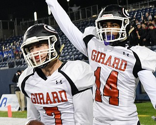 William D. Lewis The Vindicator Girard's Mark Waid and Terrance Davis (14) react after Waid scored in the first quarter.
