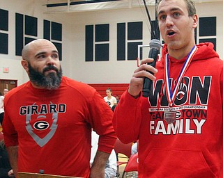 William D. Lewis The Vindicator   Girard QB Mark Waid speaks as coach Pat Pearson looks on during a 12-6-18 event at Girard HS honoring the 2018 state runners up football team.