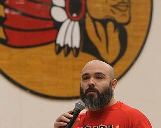 William D. Lewis The Vindicator   Girard FB coach Pat Pearson speaks during a 12-6-18 event at Girard HS honoring the 2018 stte runners up football team.