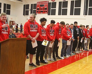 William D. Lewis The Vindicator   Girard senior football player JAck Delgarbino  speaks during a 12-6-18 event at Girard HS honoring the 2018 state runners up football team.