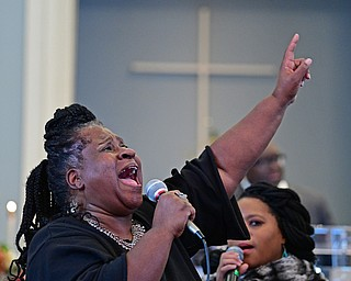 YOUNGSTOWN, OHIO - JANUARY 1, 2019: Fay Roberts of Youngstown sings, Tuesday morning during the Community Emancipation Proclamation & Installation of Officers Service at Calvary Baptist Church. DAVID DERMER | THE VINDICATOR