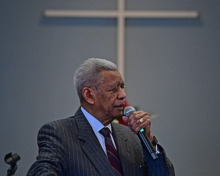 YOUNGSTOWN, OHIO - JANUARY 1, 2019: Reverend Dr. Otis Moss Jr. speaks Tuesday morning during the Community Emancipation Proclamation & Installation of Officers Service at Calvary Baptist Church. DAVID DERMER | THE VINDICATOR