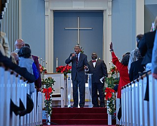 YOUNGSTOWN, OHIO - JANUARY 1, 2019: Reverend Dr. Otis Moss Jr. speaks, Tuesday morning during the Community Emancipation Proclamation & Installation of Officers Service at Calvary Baptist Church. DAVID DERMER | THE VINDICATOR