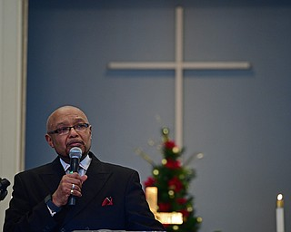 YOUNGSTOWN, OHIO - JANUARY 1, 2019: Kenneth L. Simon speaks after being presented the Powell Heritage Award, Tuesday morning during the Community Emancipation Proclamation & Installation of Officers Service at Calvary Baptist Church. DAVID DERMER | THE VINDICATOR
