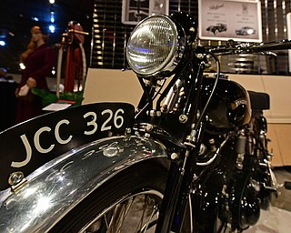 WARREN, OHIO - JANUARY 4, 2018: A 1951 Black Shadow motorcycle owned by Jack Cape, of Bristolville, Ohio, sits on display, Friday night during the preview party for 19th annual vintage motorcycle exhibit at the National Packard Museum. DAVID DERMER | THE VINDICATOR