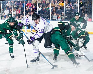 Scott R. Galvin   The Vindicator.Youngstown Phantoms forward Brett Murray (21) reaches for a rebound between Sioux City Musketeers forward Matt Miller (9) and defenseman Luke Johnson (3) during the first period at the Covelli Centre on Saturday, January 5, 2019.