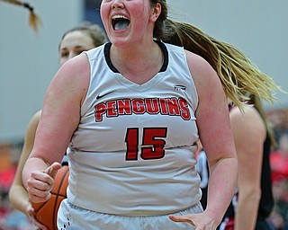 YOUNGSTOWN, OHIO JANUARY 5, 2019: Youngstown State's Mary Dunn celebrates after making her shot while being fouled to earn a free throw attempt during the first half of their game, Saturday afternoon at Beeghly Center. Youngstown State won 70-52. DAVID DERMER | THE VINDICATOR
