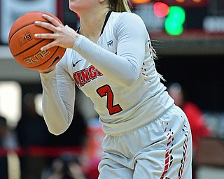 YOUNGSTOWN, OHIO JANUARY 5, 2019: Youngstown State's Alison Smolinski shoots a three point shot during the first half of their game, Saturday afternoon at Beeghly Center. Youngstown State won 70-52. DAVID DERMER | THE VINDICATOR