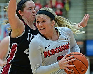 YOUNGSTOWN, OHIO JANUARY 5, 2019: Youngstown State's Alison Smolinski drives on IUPUI's Sydney Hall during the second half of their game, Saturday afternoon at Beeghly Center. Youngstown State won 70-52. DAVID DERMER | THE VINDICATOR