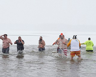 People participate in the Annual Polar Plunge in Mosquito Lake in Cortland on Saturday. EMILY MATTHEWS   THE VINDICATOR