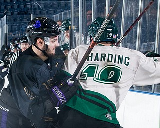 Scott R. Galvin   The Vindicator.Youngstown Phantoms forward Dalton Messina (14) pushes Cedar Rapids RoughRiders forward Jerry Harding (19) into the board during the third period at the Covelli Centre on Saturday, January 19, 2019.  The Phantoms lost 4-2.