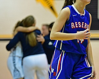 McDONALD, OHIO - JANUARY 28, 2019: Western Reserve's Kennedy Miller reacts after being defeated by McDonald 56-55 in overtime, Monday night at McDonald High School. DAVID DERMER | THE VINDICATOR