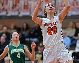 HOWLAND, OHIO - FEBRUARY 6, 2019: Howland's Alex Ochman goes to the basket against Lakeside's Dani Melnik during the first half of their game, Wednesday night at Howland High School. Howland won 89-40. DAVID DERMER | THE VINDICATOR
