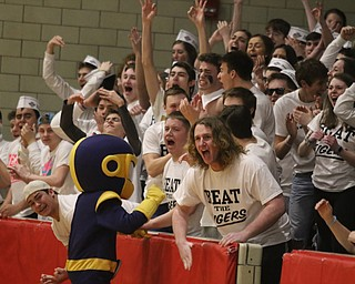 The Lowellville student section erupts in cheers as their team takes a slim lead during Friday nights district championship game against Springfield at Struthers High School.  Dustin Livesay  |  The Vindicator  3/8/19  Struthers