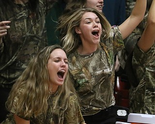 Springfield students Rachel Babinec (left) and Makenzy Cappoullez (right) celebrate as Springfield defeats Lowellville during Friday nights district championship game at Struthers High School.  Dustin Livesay  |  The Vindicator  3/8/19  Struthers