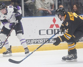 Phantoms' Tristan Amonte passes the puck while Gamblers' Chase Pilawski tries to block him during their game at Covelli Centre on Saturday night. EMILY MATTHEWS | THE VINDICATOR