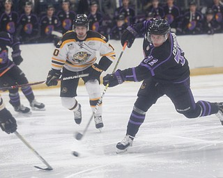 The Phantoms' Liam Dennison shoots the puck during their game against the Gamblers in Covelli Centre on Sunday. EMILY MATTHEWS | THE VINDICATOR