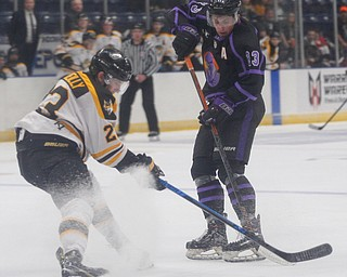 The Phantoms' Gianfranco Cassaro and the Gamblers' Ryan O'Reilly battle for the puck during their game in Covelli Centre on Sunday. EMILY MATTHEWS | THE VINDICATOR