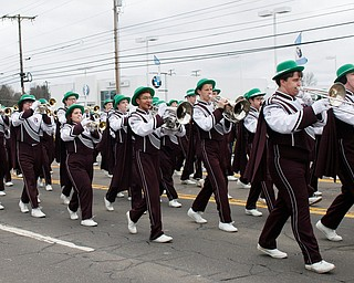 The Boardman band plays during the Mahoning Valley St. Patrick's Day Parade in Boardman on Sunday afternoon. EMILY MATTHEWS | THE VINDICATOR