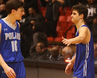 William D. Lewis The Vindicator   Poland's Daniel Kramer, left, and Braeden O'Shaughnessy react after loss to Buchtel.