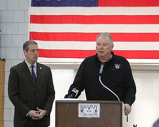March 19, 2018: US Rep. Tim Ryan and UAW president 1112 Glenn Johnson discuss the tour at GM Lorsdtown  and their support of the proposed HomeGoods distribution center.