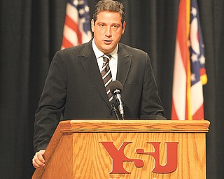 ROBERT K. YOSAY | THE VINDICATOR...Congressman Tim Ryan  thanks the troops for their service and the families and employers who will sacrifices for the next year ---]...Call to Duty ceremony wed morning at YSU Kilcawley Center for Bravo Company 237th BSB. These soldiers are based in Shelby, MS, but many of them are locals. Local dignitaries spoke and wished them god speed as they head for deployment....-30