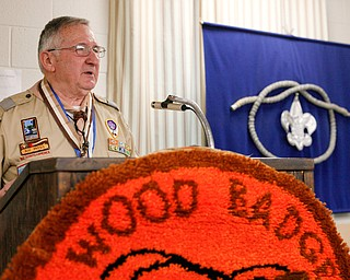 Bill Moss, District Advancement Chairman, prepares to announce the Wood Badge recipients at the Whispering Pines Recognition Dinner in St. James Episcopal Church in Boardman on Sunday. EMILY MATTHEWS   THE VINDICATOR