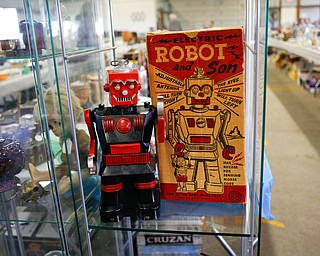 A robot is among the many items that will be for sale in the antique room at the Angels for Animals garage sale that will be taking place Friday through Sunday at the Canfield Fairgrounds. EMILY MATTHEWS | THE VINDICATOR