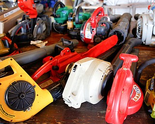 Leaf blowers and other yard items and tools will be for sale at the Angels for Animals garage sale taking place Friday through Sunday at the Canfield Fairgrounds. EMILY MATTHEWS | THE VINDICATOR