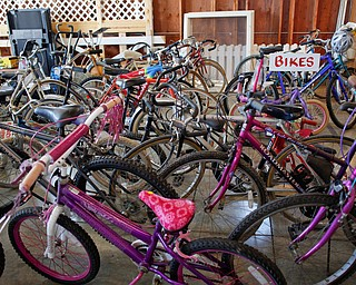 Bikes are among the items that will be for sale at the Angels for Animals garage sale taking place Friday through Sunday at the Canfield Fairgrounds. EMILY MATTHEWS | THE VINDICATOR