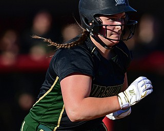 YOUNGSTOWN, OHIO - APRIL 9, 2019: Ursuline's Julia Nutter runs to first after hitting an RBI-single in the third inning of Tuesday afternoons game at Youngstown State Softball Complex. DAVID DERMER | THE VINDICATOR