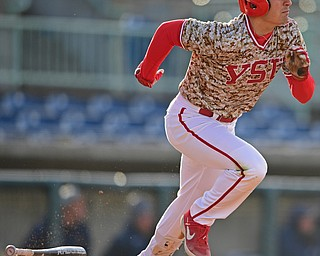 NILES, OHIO - APRIL 10, 2019: Youngstown State's Lucas Nasonti runs to first after hitting a single in the first inning of Wednesday nights game against Toledo at Eastwood Field. Youngstown State won 5-3. DAVID DERMER | THE VINDICATOR