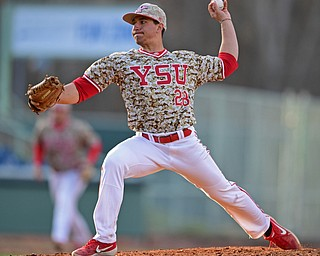 NILES, OHIO - APRIL 10, 2019: Youngstown State relief pitcher Zach Lopatka delivers in the seventh inning of Wednesday nights game against Toledo at Eastwood Field. Youngstown State won 5-3. DAVID DERMER | THE VINDICATOR