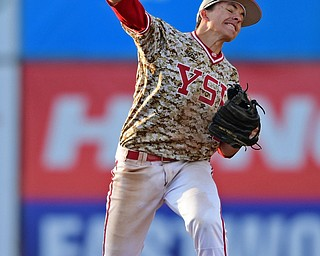 NILES, OHIO - APRIL 10, 2019: Youngstown State's Phillip Glasser throws to first to get out Toledo's Brad Boss in the seventh inning of Wednesday nights game at Eastwood Field. Youngstown State won 5-3. DAVID DERMER | THE VINDICATOR