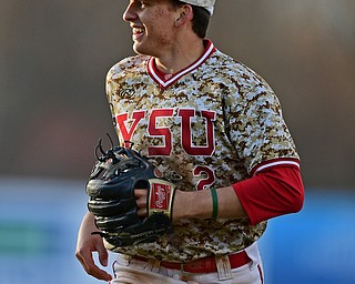 NILES, OHIO - APRIL 10, 2019: Youngstown State's Phillip Glasser smiles while running off the field after throwing out Toledo's Brad Boss at first base in the seventh inning of Wednesday nights game at Eastwood Field. Youngstown State won 5-3. DAVID DERMER | THE VINDICATOR