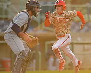 NILES, OHIO - APRIL 10, 2019: Youngstown State's Lucas Nasonti scores a run on a RBI-single by Phillip Glasser in the seventh inning of Wednesday nights game against Toledo at Eastwood Field. Youngstown State won 5-3. DAVID DERMER | THE VINDICATOR