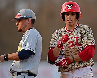 NILES, OHIO - APRIL 10, 2019: Youngstown State's Phillip Glasser stays at first base after hitting a RBI-single in the seventh inning of Wednesday nights game against Toledo at Eastwood Field. Youngstown State won 5-3. DAVID DERMER | THE VINDICATOR