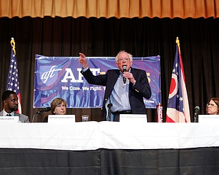 Sen. Bernie Sanders speaks during the union town hall at Lordstown High School Sunday afternoon. EMILY MATTHEWS | THE VINDICATOR