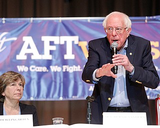 Sen. Bernie Sanders speaks while Randi Weingarten sits next to him during the union town hall at Lordstown High School Sunday afternoon. EMILY MATTHEWS | THE VINDICATOR