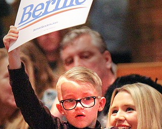 William D. Lewis The Vindicator   cathleen Schmidt and her son Benjamin, 6, during a 4-14-19 Sanders  rally at Lordstwn HS.