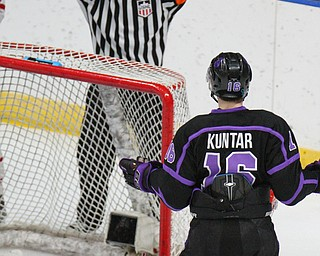 William D. Lewis The Vindicator Phantoms Trevor Kuntar(16)reacts when a 2nd period goal was called back. Dubuque goalie Matthew Thiessen(35) is on the ice during 4-15-19 action in Youngstown.