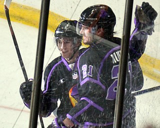 William D. Lewis The Vindicator Phantoms Brett Murray(21) gets congrats from Jack Malone(18) after scoring during 2nd period of4-15-19 action in Youngstown.