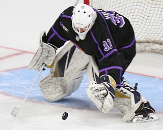 William D. Lewis The vindicator Phantoms goalie Chad Veltri(31) blocks a shot during 4-16-19 playoff game with Dubuque.