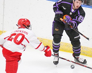William D. Lewis The vindicator Phantoms Gianfranciso Cassaro(23) fires the puck past Dubuque's Ty Jackson(20)during 4-16-19 playoff game in Younstown.