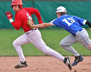 William D. Lewis The Vindicator Niles' Kenny Flanigan(4) is tagged in a run down between 2&3rd by Poland's Mason McCurdy(15) during 4-17-19 game.