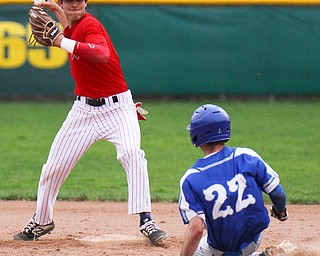 William D. Lewis The Vindicator Poland's Braden Olsen(22) is out at 2nd as Niles'Vincent Chieffo(11) turns  double play during 4-17 19 game at Niles.